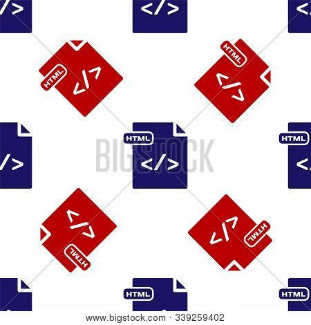 Blue And Red Html File Document. Download Html Button Icon Isolated Seamless Pattern On White Backgr