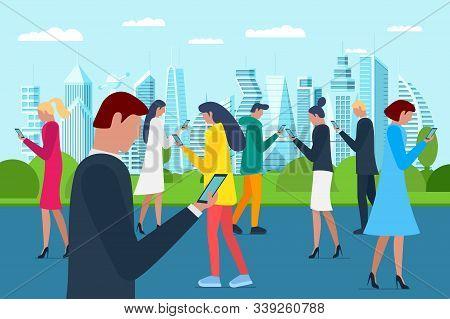 Crowd Men And Women Walking On Future City Park Using Smartphones. Internet Social Network Addiction