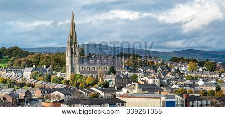 Stunning Town View With St Eugenes Cathedral In Derry, Northern Ireland