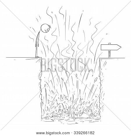 Vector Cartoon Stick Figure Drawing Conceptual Illustration Of Man Or Businessman Looking At Hole Wi