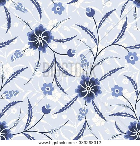 Monochrome Blue Traditional Floral Chintz Vector Seamless Pattern. Tonal Classic Trailing Flowers An