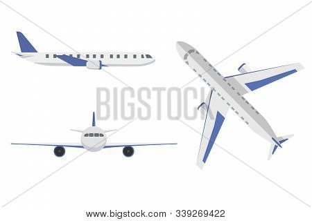 Flat Airplane. Aircraft Flight Travel, Aviation Wings And Landing Airplanes, Plane Front Flights In