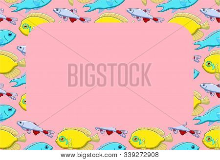 Rectangle Copy Space On Fish Pattern. Pink Background