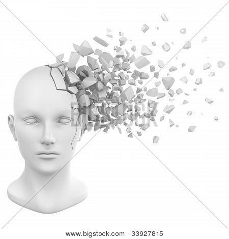 Human Head Shatter White