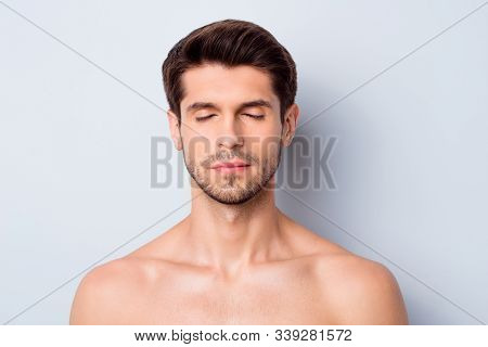 Close-up Portrait Of His He Nice Attractive Bearded Brunette Guy After Spa Laser Rf Lifting Uplift E
