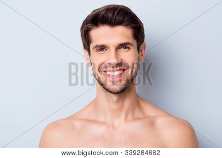 Close-up Portrait Of His He Nice Attractive Bearded Cheerful Cheery Glad Brown-haired Guy Perfect Sm