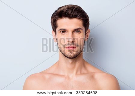 Close-up Portrait Of His He Nice Attractive Bearded Confident Calm Brown-haired Guy Clean Clear Perf