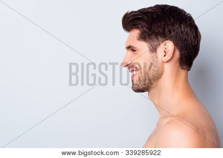 Close-up Profile Side View Portrait Of His He Nice Attractive Content Cheerful Brunette Guy Perfect