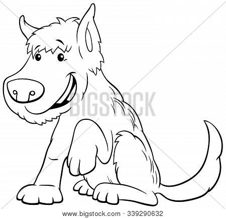 Black And White Cartoon Illustration Of Funny Shaggy Dog Or Puppy Animal Character Coloring Book Pag