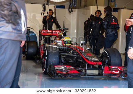 Jerez De La Frontera, Spain - Feb 10: Lewis Hamilton Of Mclaren F1 Waiting On The Pit On Training Se