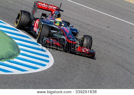Jerez De La Frontera, Spain - Feb 10: Lewis Hamilton Of Mclaren F1 Races On Training Session On Febr
