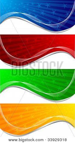 Vector set of bright tech banners; clip-art poster