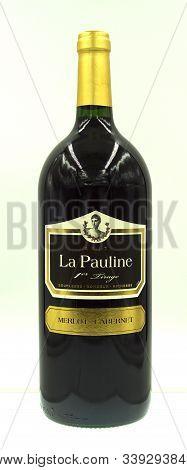Languedoc-rousillion, France - December 5, 2019: Bottle Of La Pauline Merlot Cabernet 2017 Magnum.