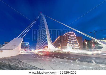 Dublin, Ireland - November 5, 2019: Night View On Samuel Beckett Bridge.