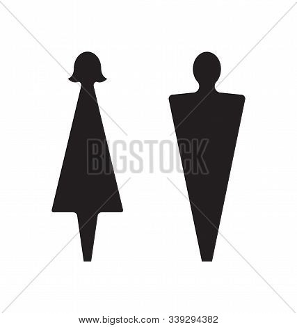Male And Female Icons. Restroom Pictogram, Graphic Element For Washroom In Public Places. Simple Abs
