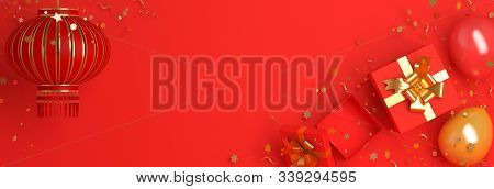 Happy Chinese New Year 2020 Background, Gift Box, Balloon, Confetti, Red And Gold Chinese Lantern La