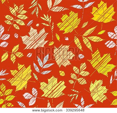 The Leaves Of The Trees, Seamless Background, Brown-red, Colour, Shading, Vector. Yellow, Green And