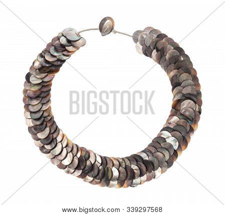 Top View Of Necklace From Polished Natural Nacre Discs Isolated On White Background