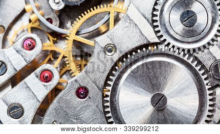 Clockwork Of Mechanical Pocket Watch With Ruby, Gears And Toothed Wheels