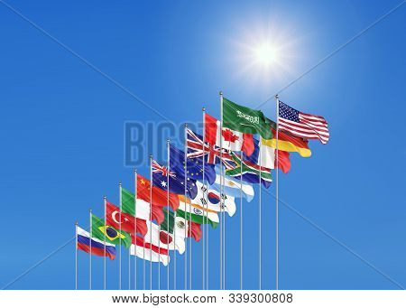 Waving Flags Countries Of Members Group Of Twenty. Big G20 21-22 November 2020 In The Capital City O