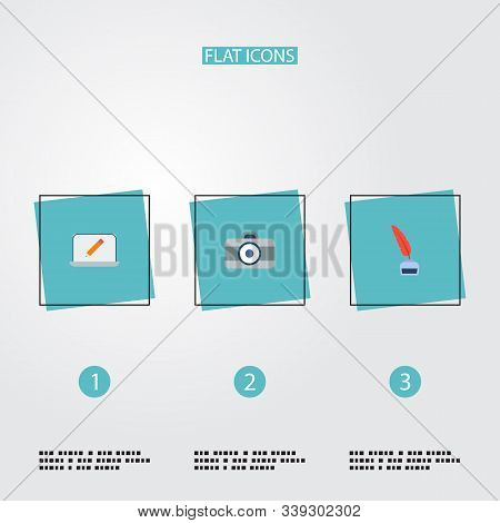 Set Of Creative Icons Flat Style Symbols With Dslr Camera, Inkwell With Pen, Monitor And Other Icons
