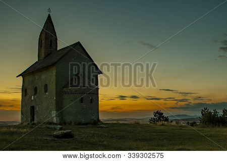 Night In Medieval Church Of St. Michael The Archangel From 11th Century Near Nitra In Slovakia In Eu