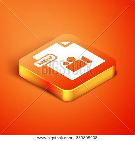Isometric Mov File Document. Download Mov Button Icon Isolated On Orange Background. Mov File Symbol