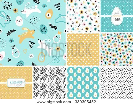 Cute Set Of Childish Easter Seamless Patterns With Hand Drawn Rabbits And Eggs, Creative Spring Desi