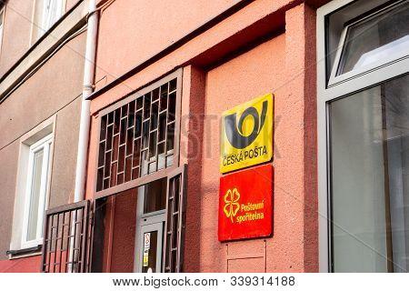 Ostrava, Czechia - December 13, 2019: The Signboards Of Ceska Posta (czech Post) Company And Postovn