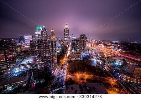 Atlanta, Georgia/united States, 12/12/2019: Ultra Wide Angle Long Exposure Night In Downtown Atlanta