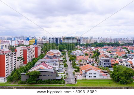 Singapore-04 Jan 2017: Singapore Shop House Area Aerial Day Time View