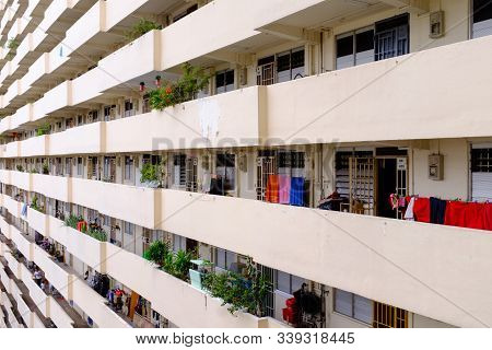 Singapore-04 Jan 2017: Singapore Hdb Residential Building Facade Day Time View
