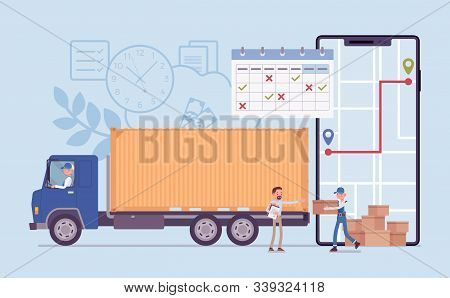 Order Tracking System On Smartphone Screen. Track Journey Shipping Tracker To Customer Or Warehouse,