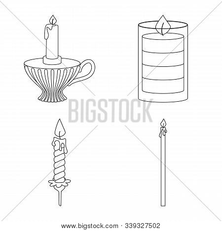 Vector Illustration Of Source And Ceremony Symbol. Set Of Source And Fire Vector Icon For Stock.