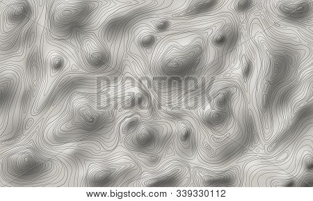 Shaded Relief Topographic Map Vector Illustration, Contour Line Map Of Rough Terrain, Mountains Or H