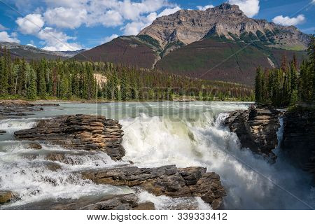 Panoramic Image Of The Athabasca Falls, Beautiful Place Close To The Icefields Parkway, Jasper Natio