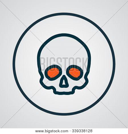 Skull Icon Colored Line Symbol. Premium Quality Isolated Cranium Element In Trendy Style.