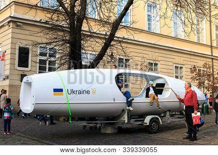 Lviv, Ukraine - 19 October 2019: Boat On Which Dmitry Rezvoy Is Going To Cross Atlantic Ocean