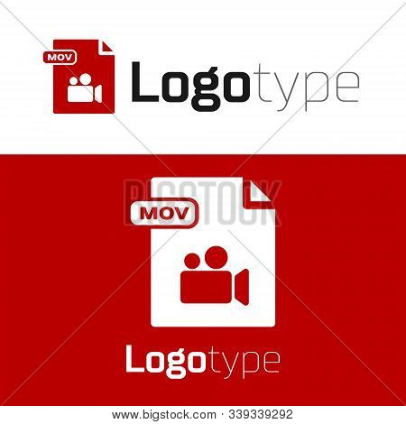 Red Mov File Document. Download Mov Button Icon Isolated On White Background. Mov File Symbol. Audio