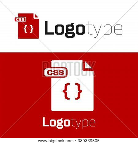 Red Css File Document. Download Css Button Icon Isolated On White Background. Css File Symbol. Logo