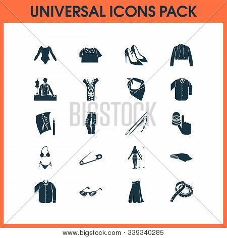 Fashionable Icons Set With Bandanna, Pump Shoes, Fabric Roll Blazer Elements. Isolated Vector Illust