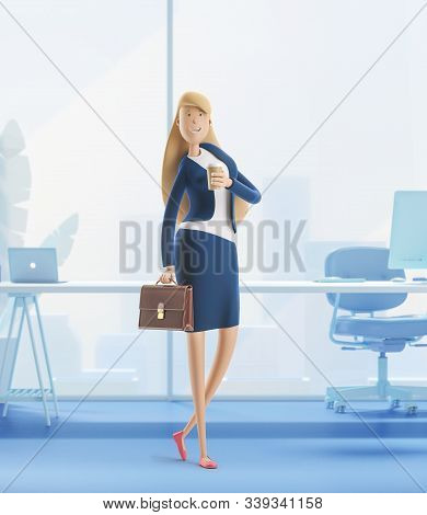 Young Business Woman Emma Standing With Briefcase On A White Background. 3d Illustration