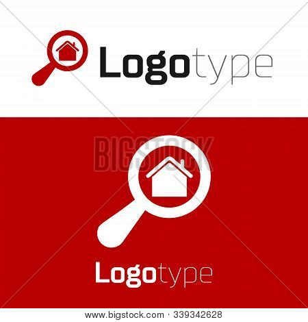 Red Search House Icon Isolated On White Background. Real Estate Symbol Of A House Under Magnifying G