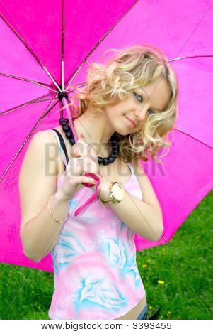 Beautiful Girl And Umbrella