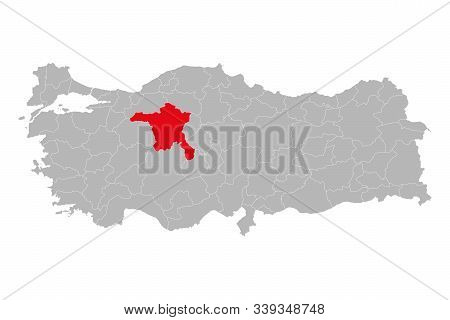 Map Of Ankara Marked Red On Turkey Map Vector. Gray Background.