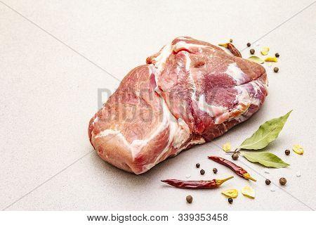 Raw Fresh Pork Shoulder With Spices