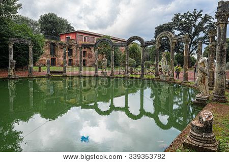Ancient Pool Called Canopus, Surrounded By Greek Sculptures In Villa Adriana (hadrian's Villa), Tivo