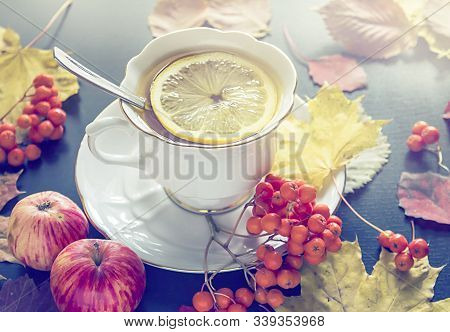 Cup Of Tea, Autumn Leaves, Apples And Rowanberry.