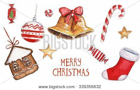 Watercolor Christmas Illustration With Christmas Stocking, Bells, Candies, Golden Stars, Ginger Cook