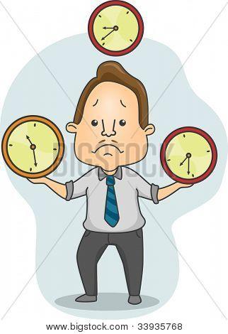 Illustration of a Man Juggling Time